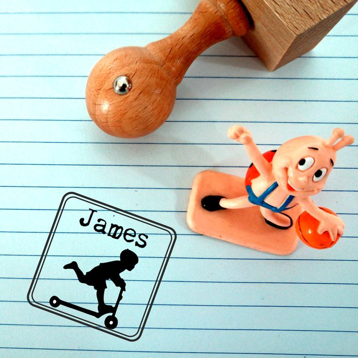 Custom Kids Stamp -  Name stamp - Childs stamp -  Scooter stamp - Personalised Gift for Kids - Personalized Stamp - Kids stamp by Stampoluna on Etsy