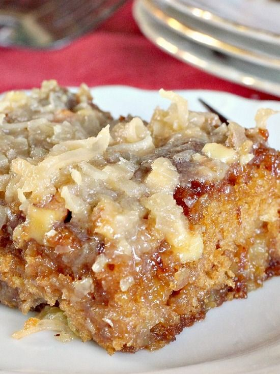 Texas Tornado Cake. This delicious cake is made with fruit cocktail in the batter & has a streusel-nut topping. A boiled coconut topping is poured over the cake while hot. Quick, easy, economical.