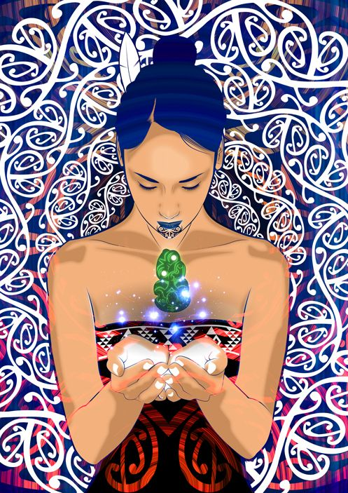 Digital art inspired by the Maori new year Matariki, and star cluster, also a dedication to the beauty that is our Maori wahine.    I wanted to give the artwork a celestial feel, not like gods, but apart of the stars and systems, a synergy within. giving you that sense of scope and scale    http://www.onesian.com