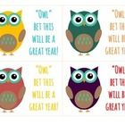 Cute tag for student welcome gift in the ever-so-popular owl theme!   Idea: Cute these out, hole punch the corner of each tag and tie a ribbon arou...