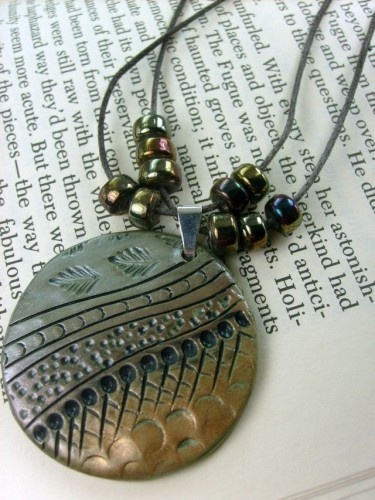 Earth Tones Bohemian Pendant Necklace in Polymer Clay