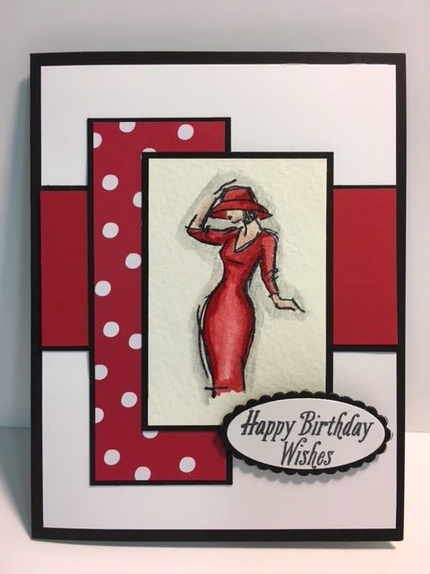 Today I thought I would dig out another set and play with it. I had a lot of fun making this card. I LOVE making red, white and black ca...
