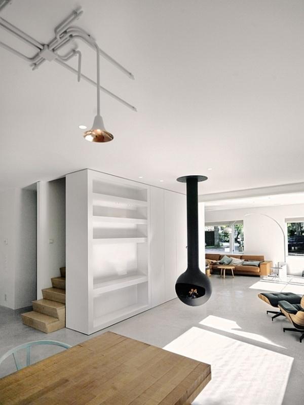 Hanging fireplace #fireplace #interior