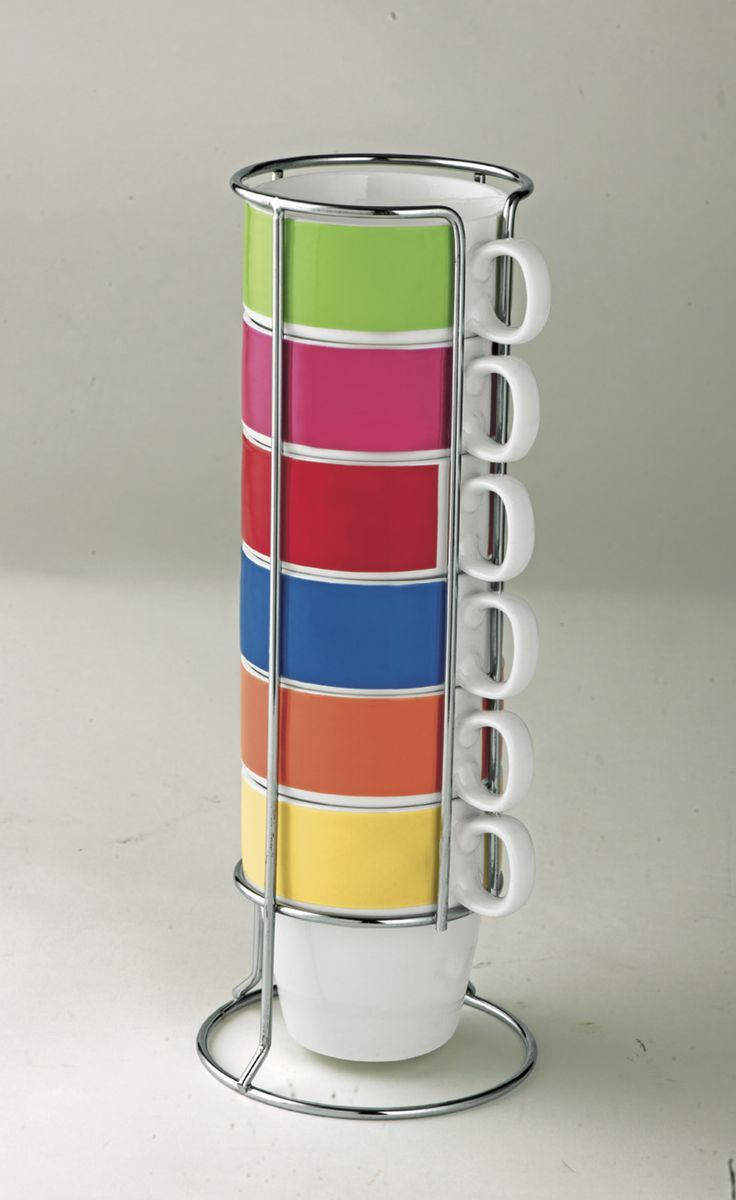 Bring a splash of colour into your kitchen with out ColourMatch 6 Piece Stacking Multicoloured Mug Set.