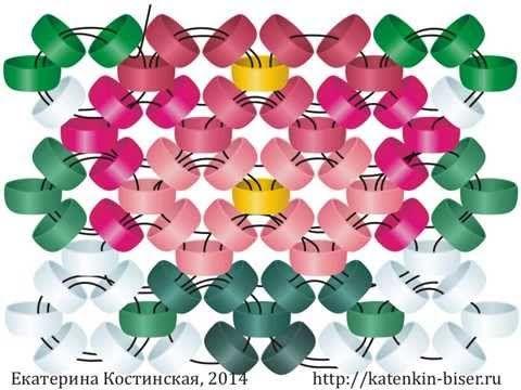 Плетение колечками в 1 иглу. Бисерный мульт / Схемы / Бусинка