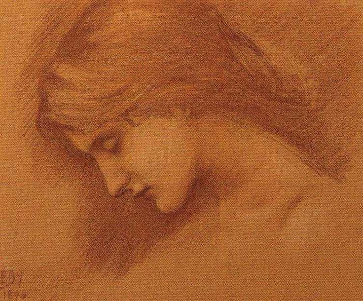 Edward Burne-Jones - Study for the Sleeping Princess, 1894, Red chalk heightened with white pink paper  26 x 31.7 cm