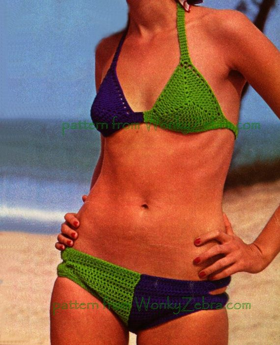 crochet bikini from WonkyZebra on Etsy. pattern PDF WZ098 $3 from WonkyZebra.com