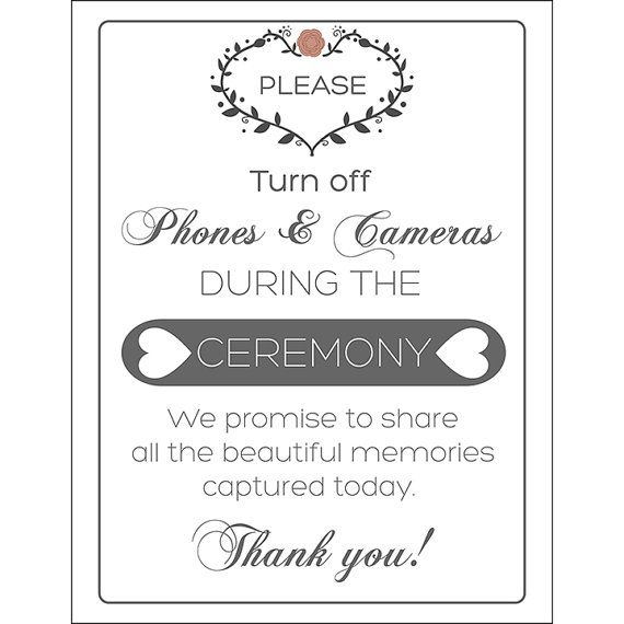 No Cell Phones or Cameras Wedding 8.5 x 11 Printable by GothamPops