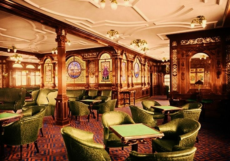 he first-class smoking room, was men only. The room was built in the Georgian style — which was a style popular with gentlemen's club at the time.