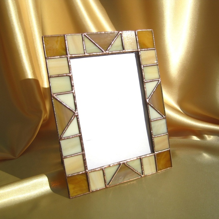 Sandstone 5 x 7 Stained Glass Picture Frame. $26.00, via Etsy.