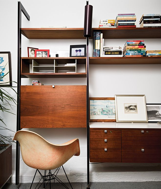 In Matt Jacobsen's Southern California ode to minimal living, the home office is decked out with an original Eames shell chair manufactured in Gardena, California, before production moved to Michigan. Photo by Dave Lauridsen.