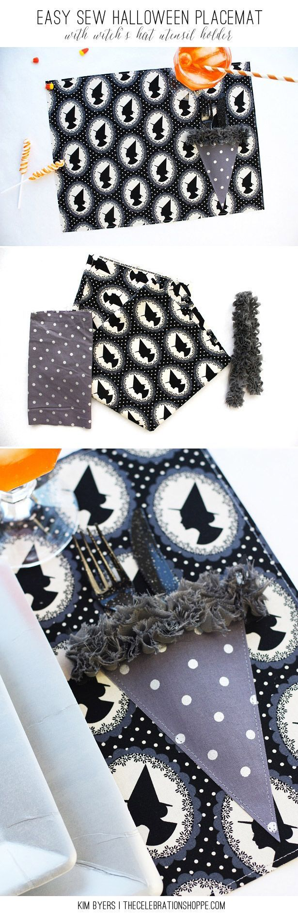 Easy Sew Halloween Placemat with Witch's Hat Utensil Holder | Kim Byers, http://TheCelebrationShoppe.com
