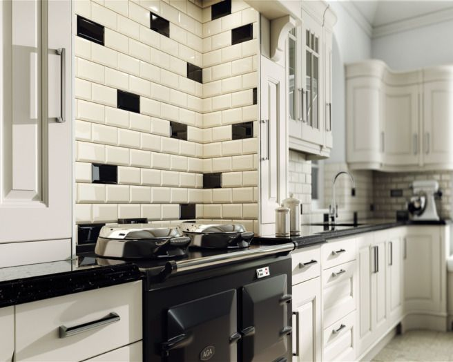 Photo Of Stylish Traditional Black Cream White Ceramic Crown Tiles Kitchen With Tiled Splashback Tiles Wall Tiles And Range Cooker For The Home