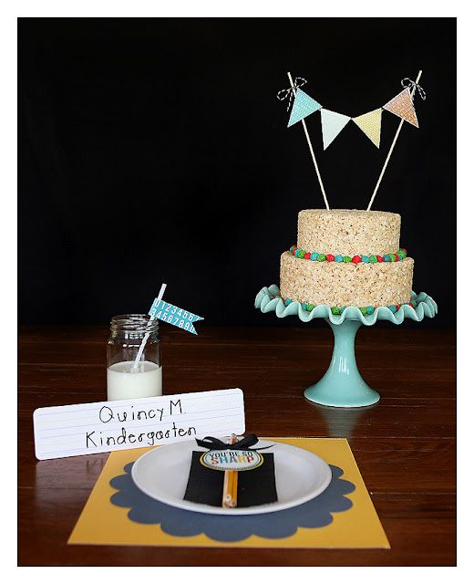 "Back to school party!  Rice Crispy Treat cake, milk and a ""You are Sharp"" pencil place card :)"