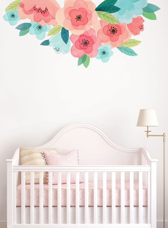 Kids Watercolor Flower Wall Sticker Coral And Mint Blooms Wall