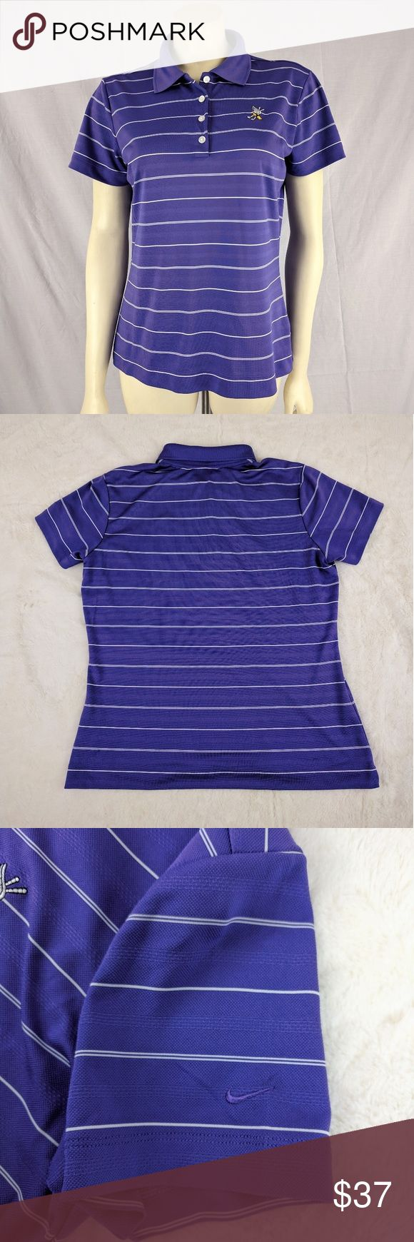 NWT Nike Women's Golf T-shirt Purple striped NWOT retails $55  Nike Golf Dri-fit T-shirt.  Size: Medium  Color: stripped Purple and small white lines  Short sleeves. Machine washable.  Bust: 40in-44in  Length: 23.5in   Thanks for stopping by. Nike Tops Tees - Short Sleeve