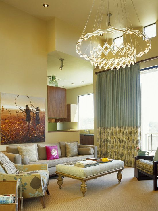 Modern living room tan brown and green design pictures remodel
