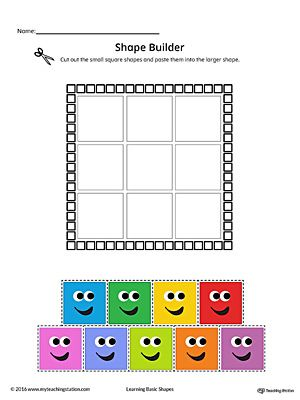Geometric Shape Builder Worksheet: Square (Color) Worksheet.Cut out the Square shapes and paste them into the larger shape in this printable worksheet. Perfect for preschool children to practice recognizing shapes.