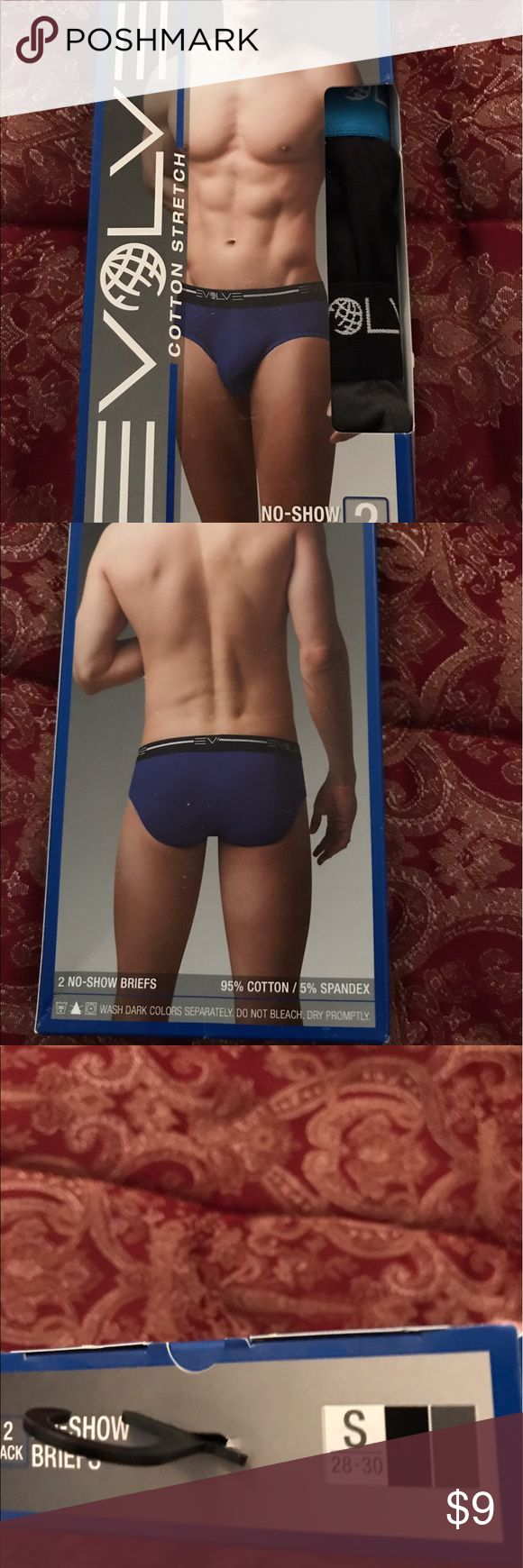 "Men's Evolve No Show Briefs Underwear 2 pack small Men's Evolve No Show Briefs Underwear by 2xist....size small....fits waist 28"" to 30 inches.....95% cotton and 5% spandex.....2 pack....colors are black and gray......brand new, never opened! 2xist Underwear & Socks Briefs"