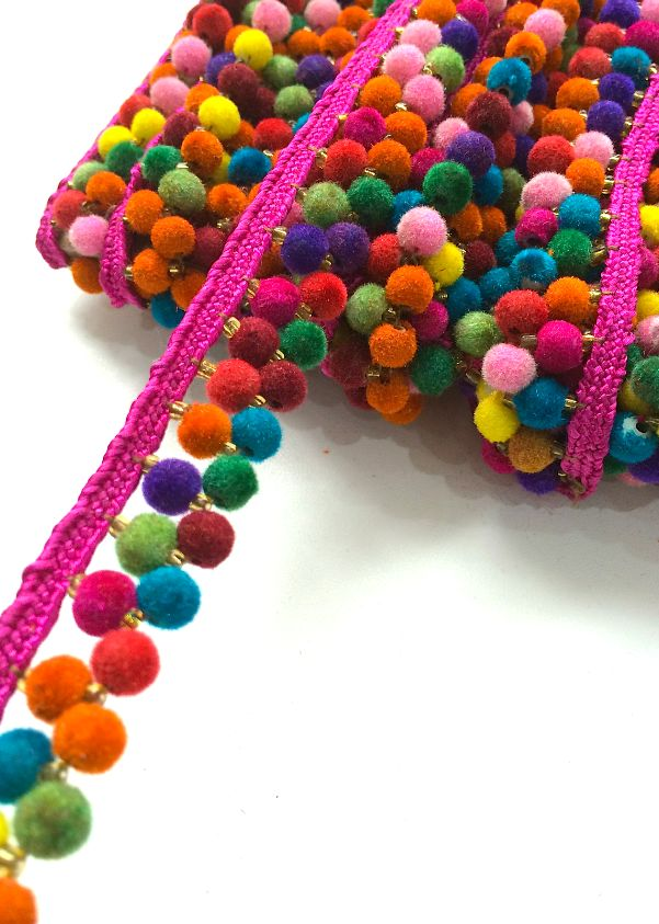 2 line multi coloured pink felt pom pom trim.png (601×843)