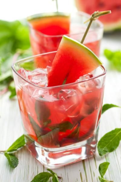 Watermelon mojito.  Directions  Muddle 2 watermelon chunks with the juice of 1 lime and 2 teaspoons sugar in each glass. Stir in a handful of mint leaves, then add 2 ounces white rum and ice. Top with ginger ale; garnish with more mint.
