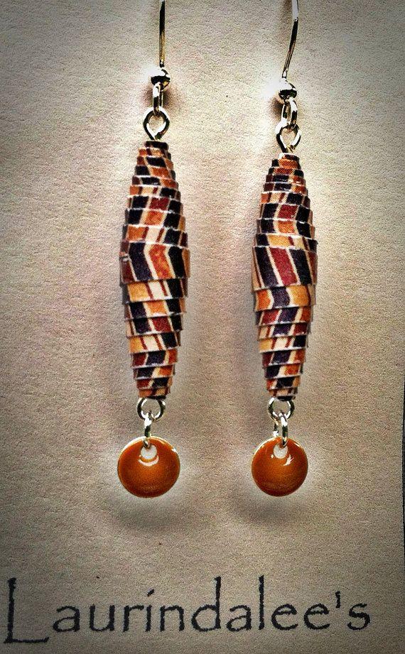 Brown & Tan Handcrafted Paper Bead Earrings wTan by Laurindalees, $15.00