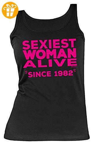 Frauen-Jahrgangs/Geburtstags/Girlie-Top/Träger-Shirt/ Damen Tank Top: Sexiest Woman Alive since 1982 tolles Geschenk (*Partner-Link)