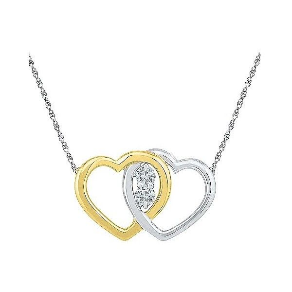 / CT.T. White Diamond Prong Set Double Heart Pendant in  Yellow Gold... ($210) ❤ liked on Polyvore featuring jewelry, pendants, white, gold anklet, gold heart pendant, sterling silver pendants, white gold pendant and gold jewellery