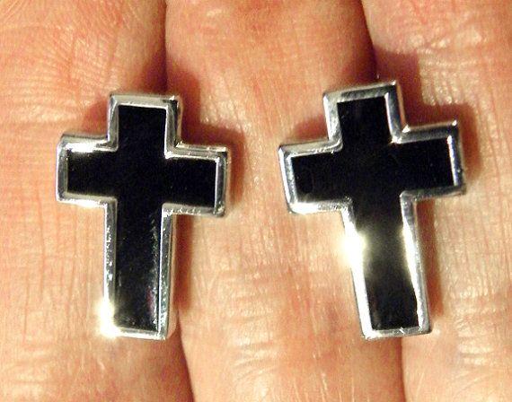 Mens Black Cross Cufflinks Steampunk Goth Cuff by tempusfugit, $24.99