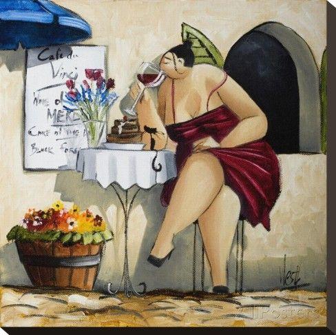 Wine Tasting at Café da Vinci II Impressão em tela esticada por Ronald West na…