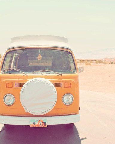 "Orange, Volkswagen van, vintage, road trip, pastel, desert, utah, pink, blue, white, colorful, fine art photograph 8""x10"""