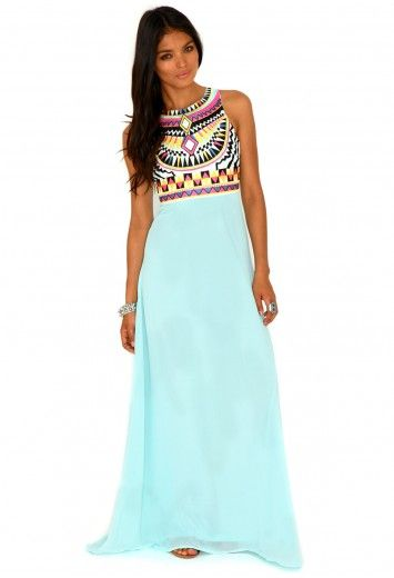 Missguided - Malvina Aztec Maxi Dress In Mint