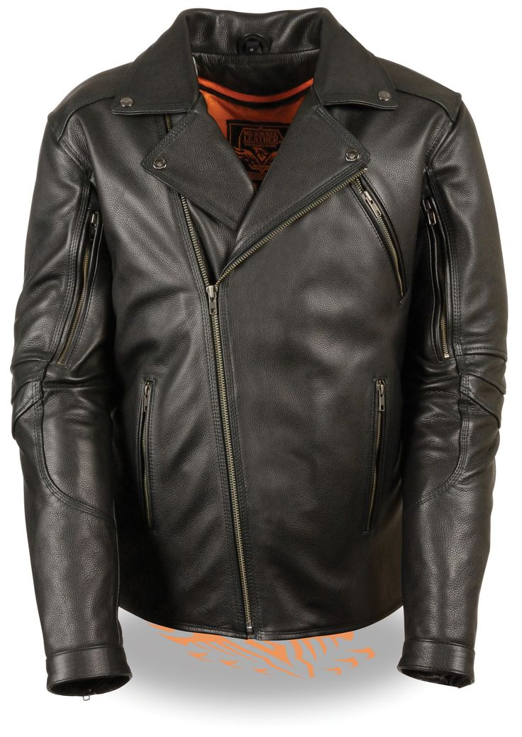 Mens Classic Leather Motorcycle Jacket Biker Style
