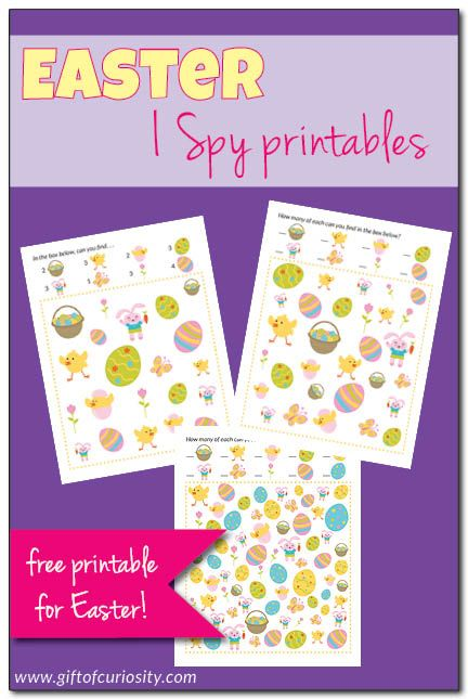 This FREE Easter I Spy Printables download includes six games with three different levels of difficulty. What a fun idea to do with the kids this Easter! || Gift of Curiosity