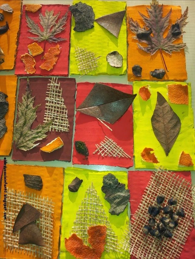 Fall Preschool Art & Science Activities:  Textural Nature Collage Collaborative Display.