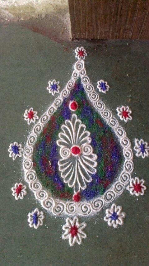 Door rangoli colourful border rangoli designs 2 for Door rangoli design images