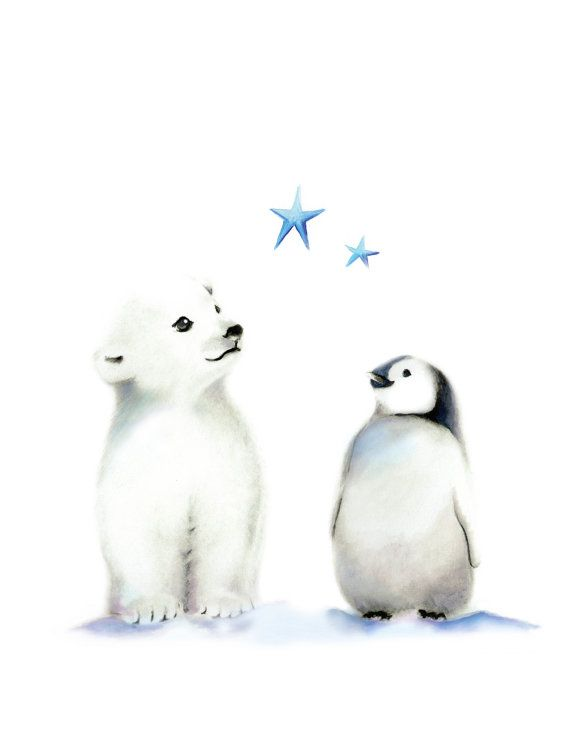 CANVAS Nursery Prints, Arctic Animal, Set of 3, Blue and Grey Nursery, Penguin, Polar Bear, Gender Neutral Baby, Nursery Wall Deco