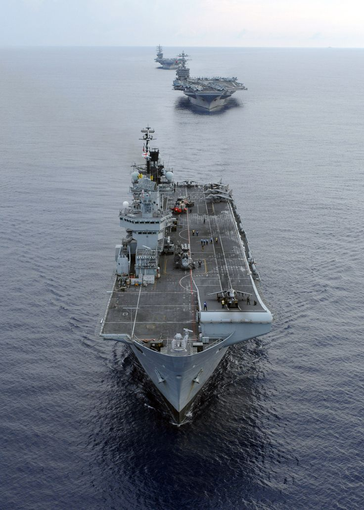 From foreground to background: HMS Illustrious, USS Harry S. Truman, and USS Dwight D. Eisenhower.