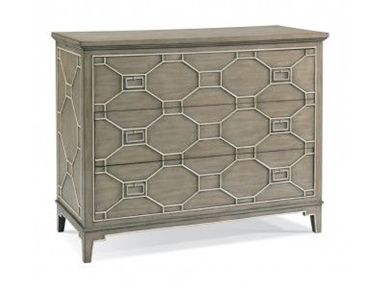 Shop for Hickory White CTH Drawer Chest, 963155, and other Living Room Chests and Dressers at Walter E. Smithe in 11 Chicagoland locations in Illinois and Merrillville, Indiana. Painted in a natural stone shade and featuring classic linen-color Chippendale fretwork on the drawer faces and side panels, this perfectly proportioned three drawer chest with brushed nickel pulls works in any venue.