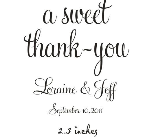 a sweet thank you rubber stamp on Etsy. Great idea for a candy gift.