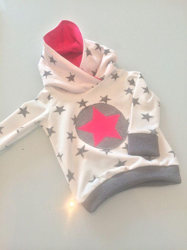 Kapuzenpullis - Hoodie mit pinkem Stern - ein Designerstück von FRAU-WPUNKT bei DaWanda
