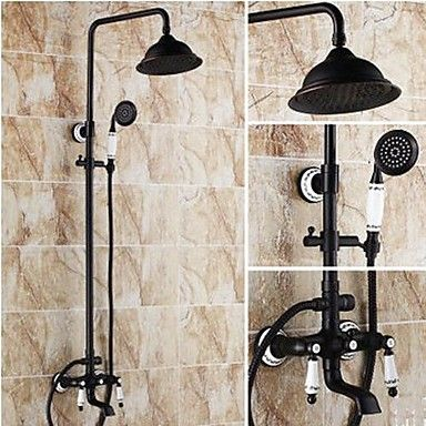Antique+Shower+System+Rain+Shower+Handshower+Included+with++Ceramic+Valve+Two+Handles+Three+Holes+for++Oil-rubbed+Bronze+,+Shower+Faucet+–+GBP+£+211.80