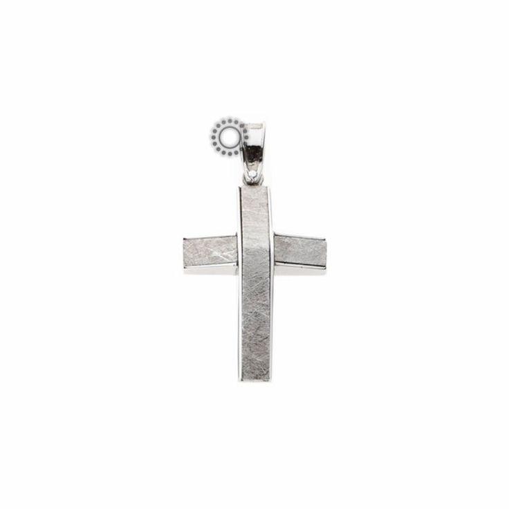 Ένας μοντέρνος βαφτιστικός σταυρός για αγοράκι λευκόχρυσος Κ14 σε σαγρέ χαραγμένο φινίρισμα που κάνει γωνία στο κέντρο του σταυρού | Βαπτιστικοί σταυροί ΤΣΑΛΔΑΡΗΣ Χαλάνδρι #βαπτιστικός #σταυρός #βάπτισης #αγόρι