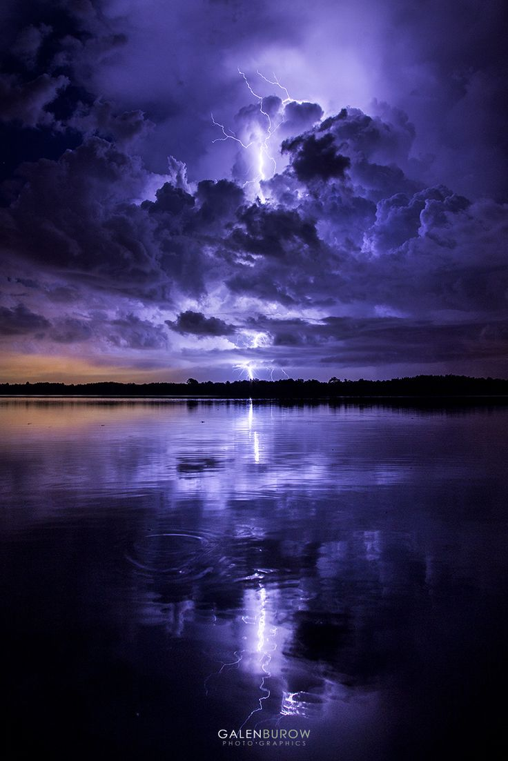 ~~Thunder Bay, Tampa, Florida | lightning bolt lights up the sky a deep purple during a thunderstorm | by Galen Burow~~