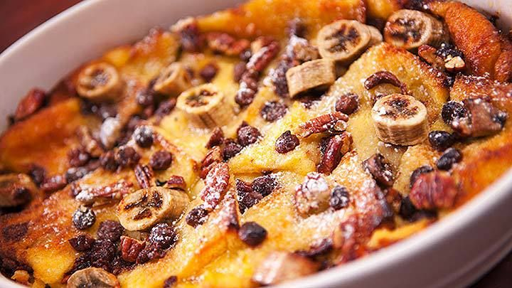 Chocolate Banana Bread and Butter Pudding