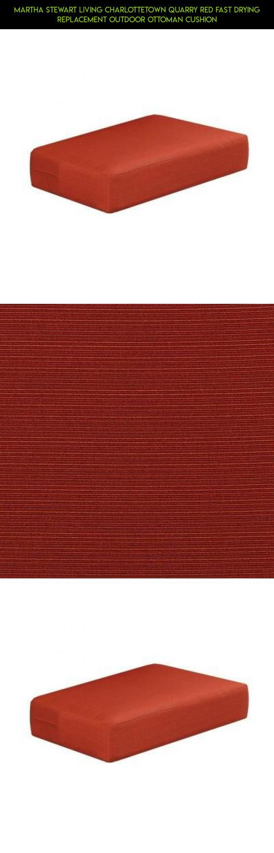 Martha Stewart Living Charlottetown Quarry Red Fast Drying Replacement  Outdoor Ottoman Cushion #racing #products