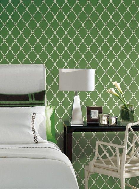 Walnut Green Trellis Wallpaper