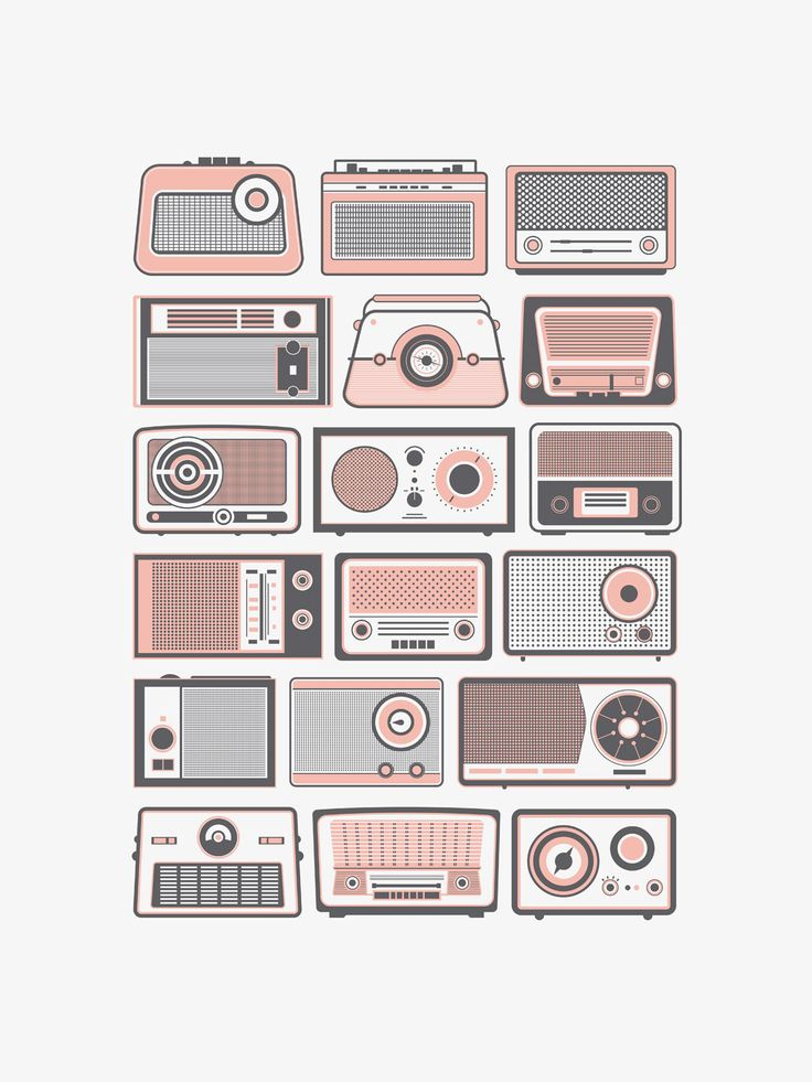 Vintage radios are a timeless beauty. I can't quite put my finger on what it is I love about them, but I do. Here we have a neatly organized collection of 20 vintage radios simplified down to shapes a