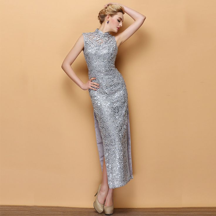 Modern Shiny Silver Lace Sleeveless Long Cheongsam Dress - Qipao - Cheongsam - Women