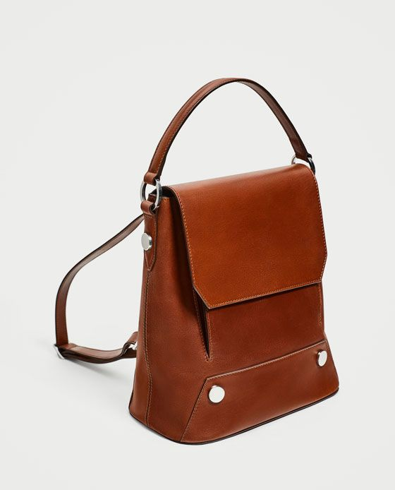 ZARA - WOMAN - LEATHER BACKPACK WITH BUTTONS